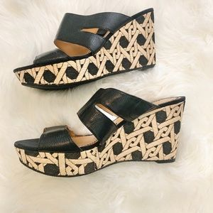 Nine West | Black & Tan Wedge Sandal